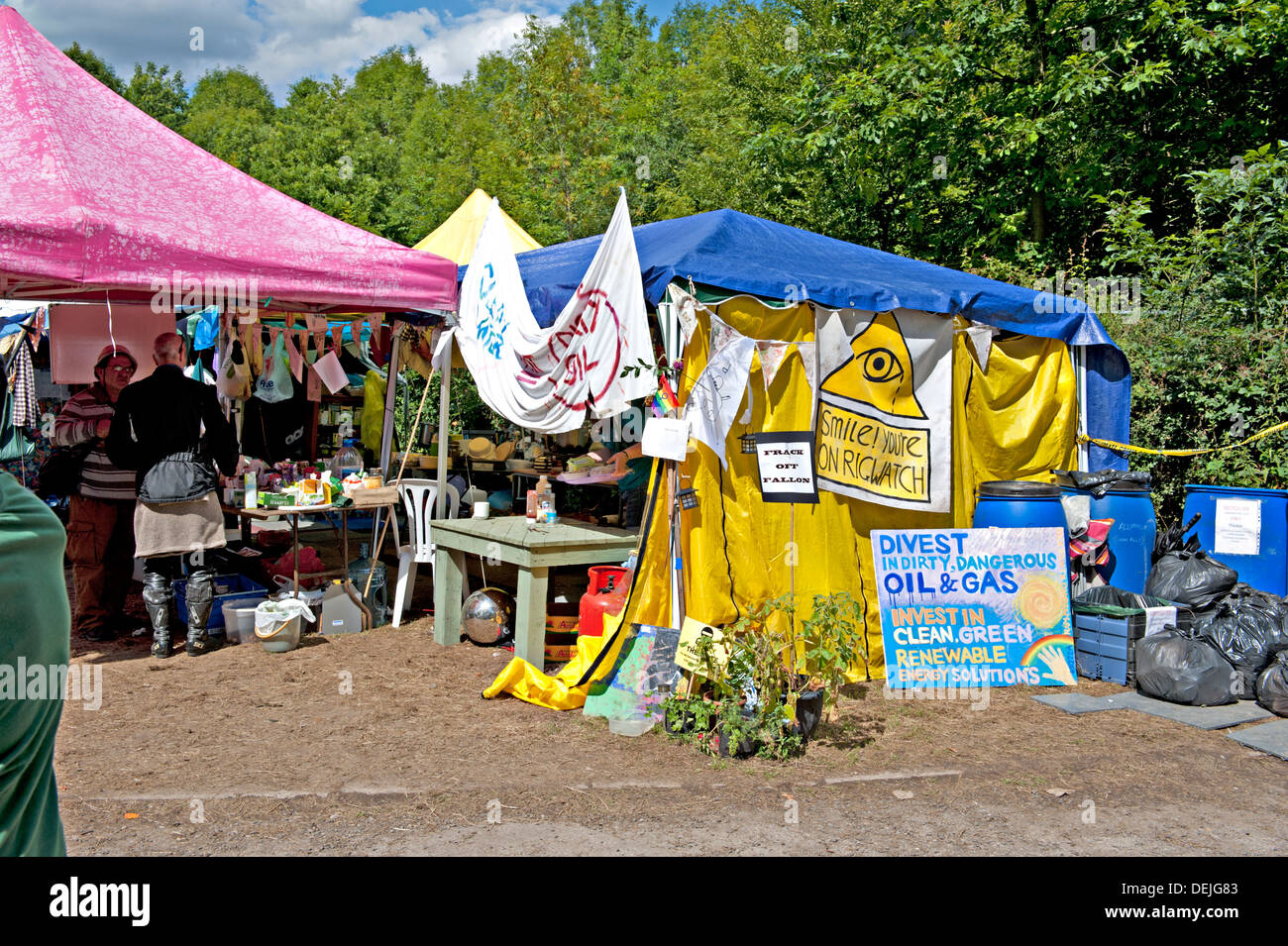Protesters at a tented  village near Balcombe, UK They are objecting to Cuadrilla carrying out possible fracking in the area - Stock Image