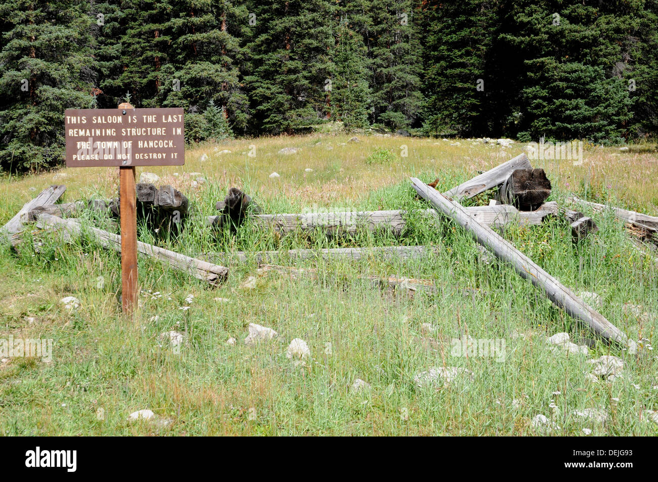 All that remains of Hancock, a mining and railroad town that flourished briefly between 1880 and 1910. - Stock Image