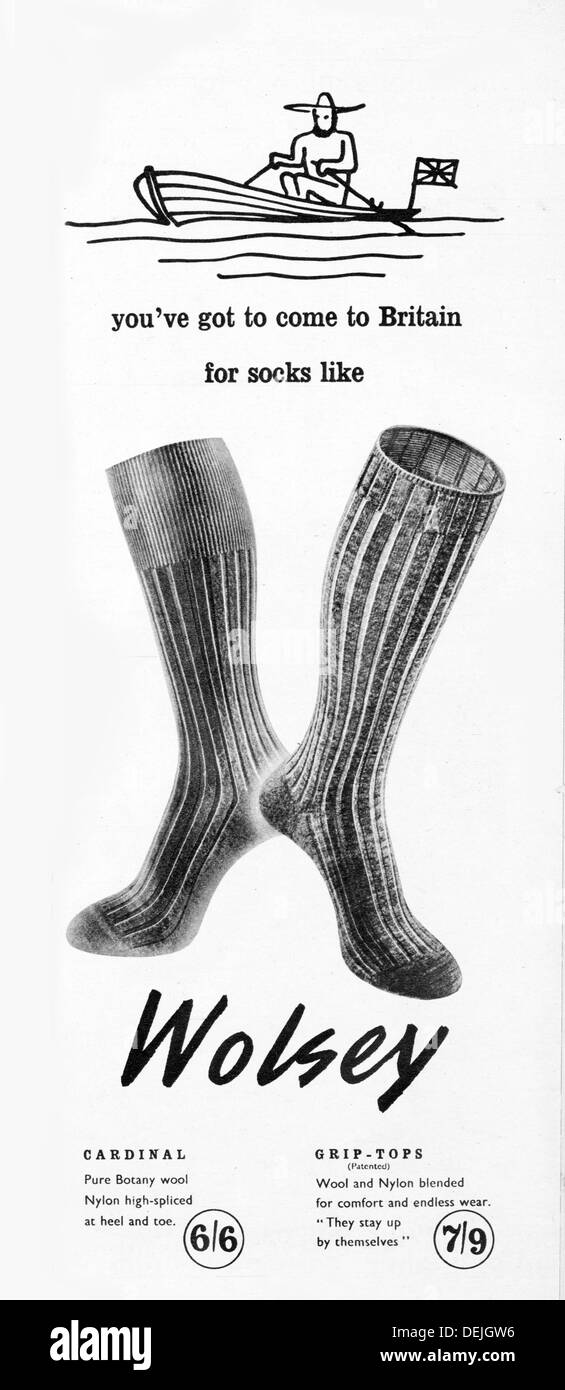 1953 Wolsey socks advert - Stock Image