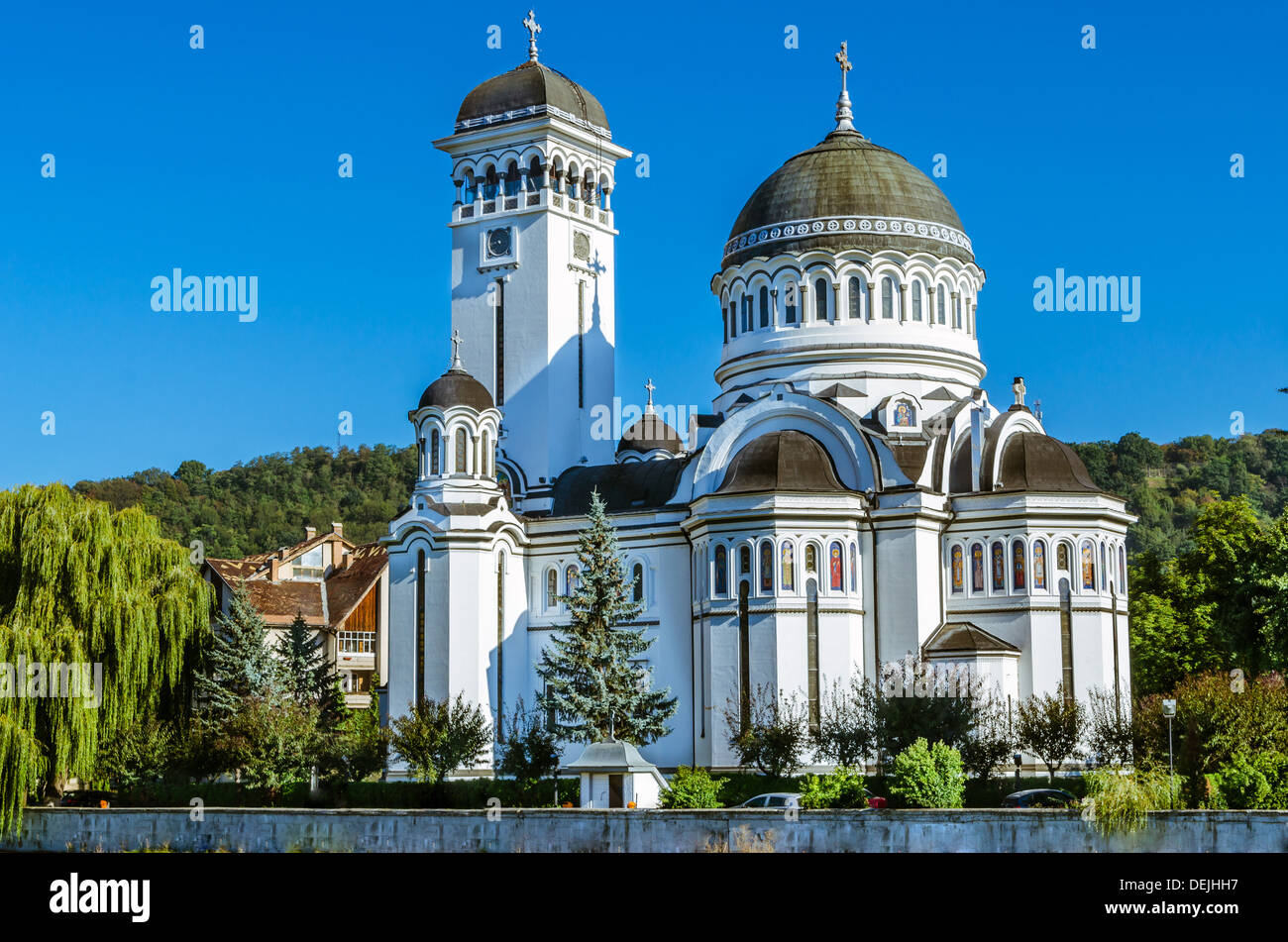 Orthodox cathedral of Sighisoara. Situated on the Northern shore of the Tarnava Mare, dedicated to the Saint Trinity - Stock Image