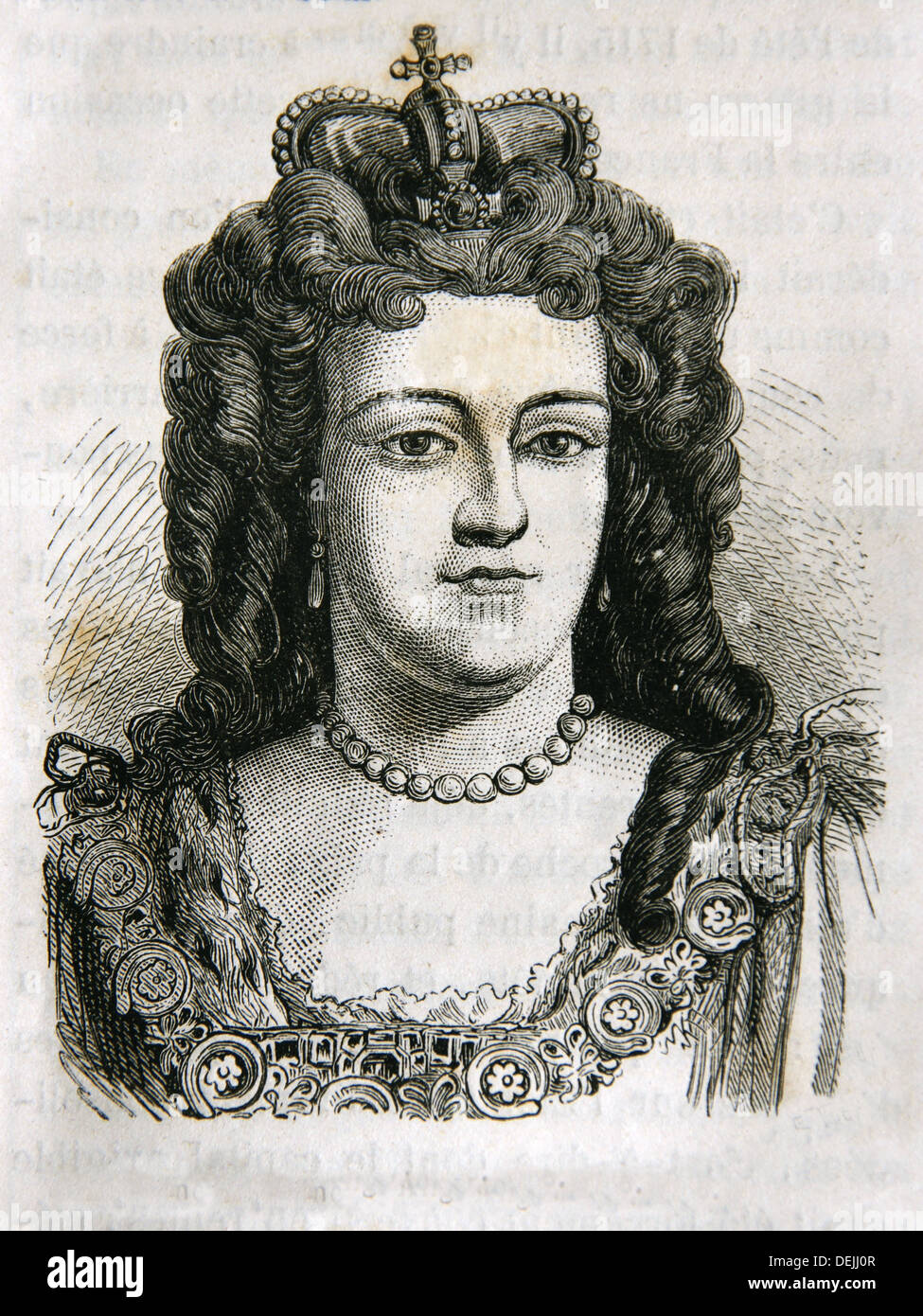 Anne 6 February 1665 - 1 August 1714 became Queen regnant of England, Scotland and Ireland on 8 March 1702, succeeding her - Stock Image