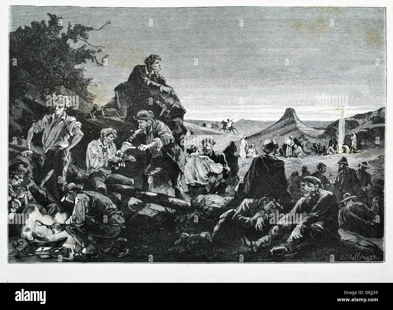 Deported frenchs to Algeria, in 1851 - Stock Image