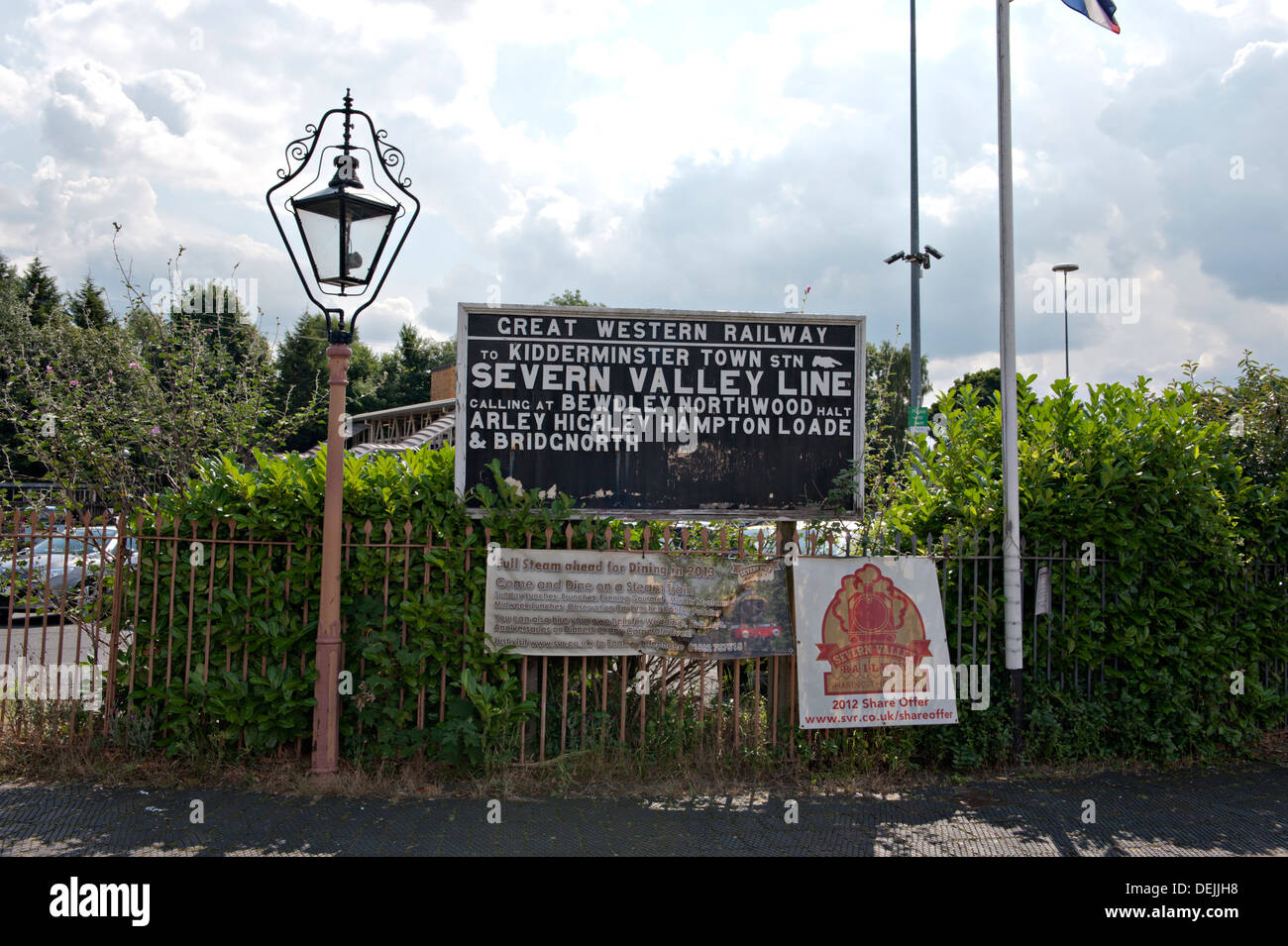 Vintage gas lamp and railway sign near Kidderminster railway
