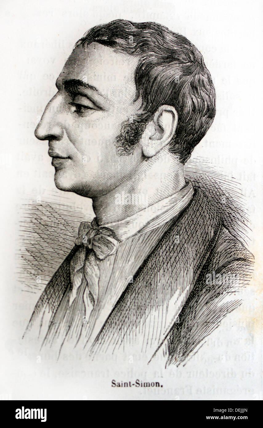 France, History, 19th Century, Saint-Simon Claude Henri de Rouvroy, comte de Saint-Simon, often referred to as Henri de - Stock Image