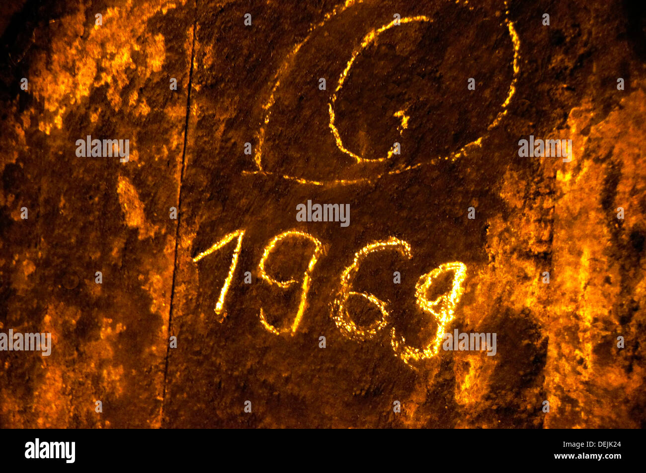 A 1969 Armagnac barrel of Jean Bon estate, Toujouse, Gers, Midi-Pyrenees, France - Stock Image