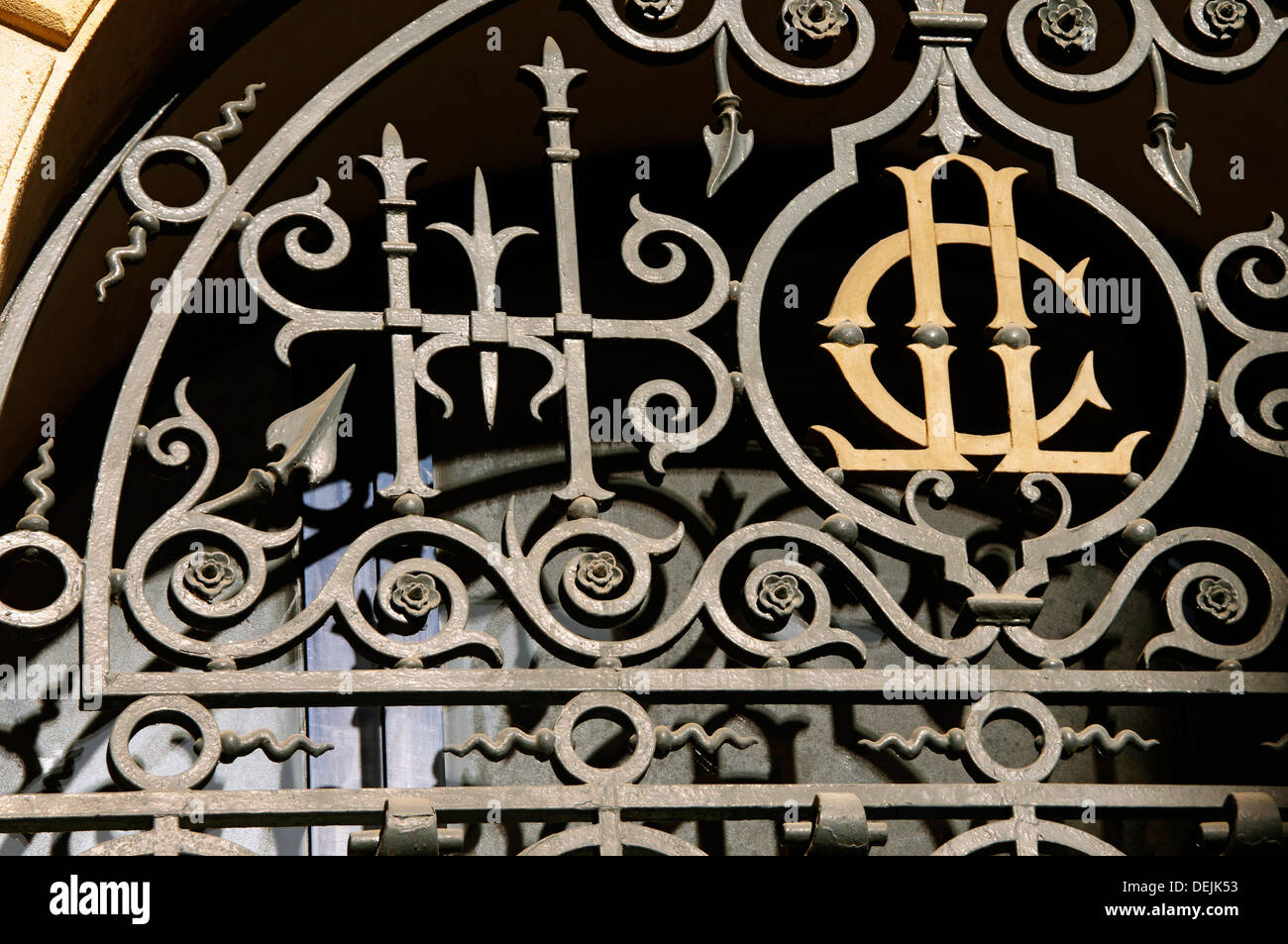 Ironwork around 1900 on the gate of the ´Credit Lyonnais´ bank, at Bordeaux, Gironde, Aquitaine, France - Stock Image