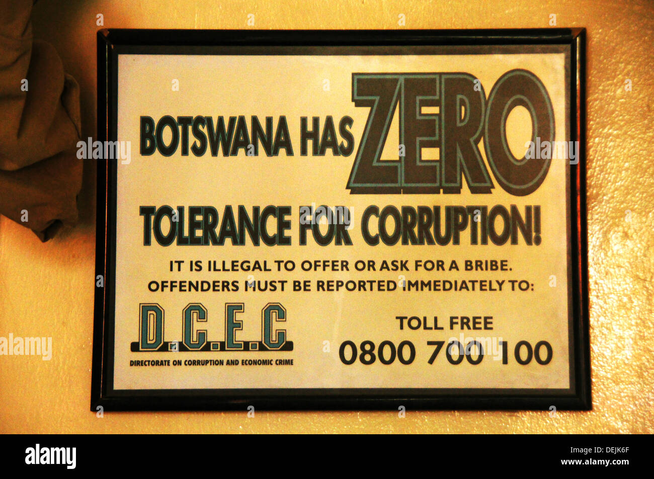 ´Tolerance Zero´ for corruption poster, Botswana is one of the few african country with NO corruption - Stock Image