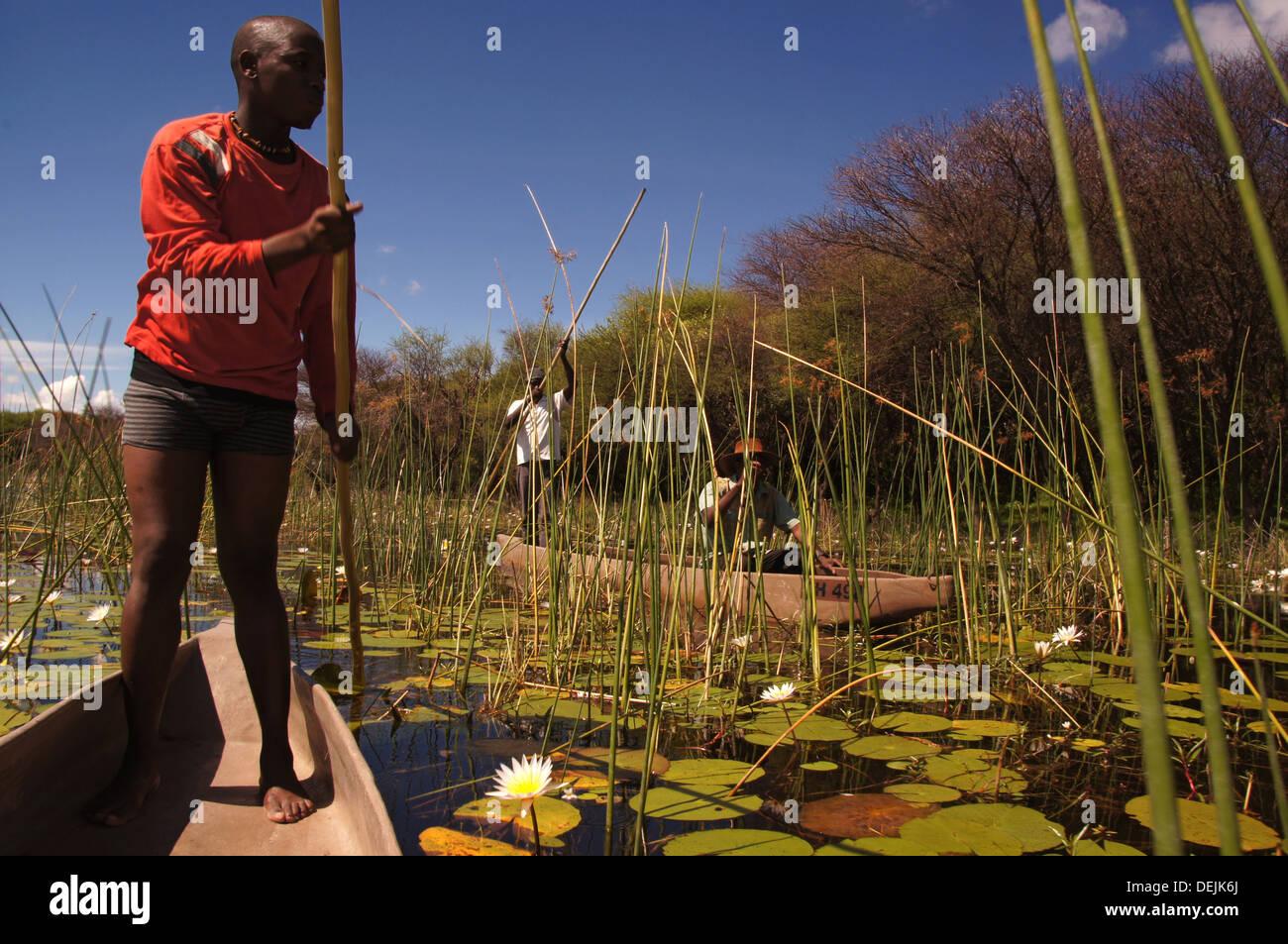 On ´moroko´ dug-out canoe at the Okavango Delta, Botswana - Stock Image
