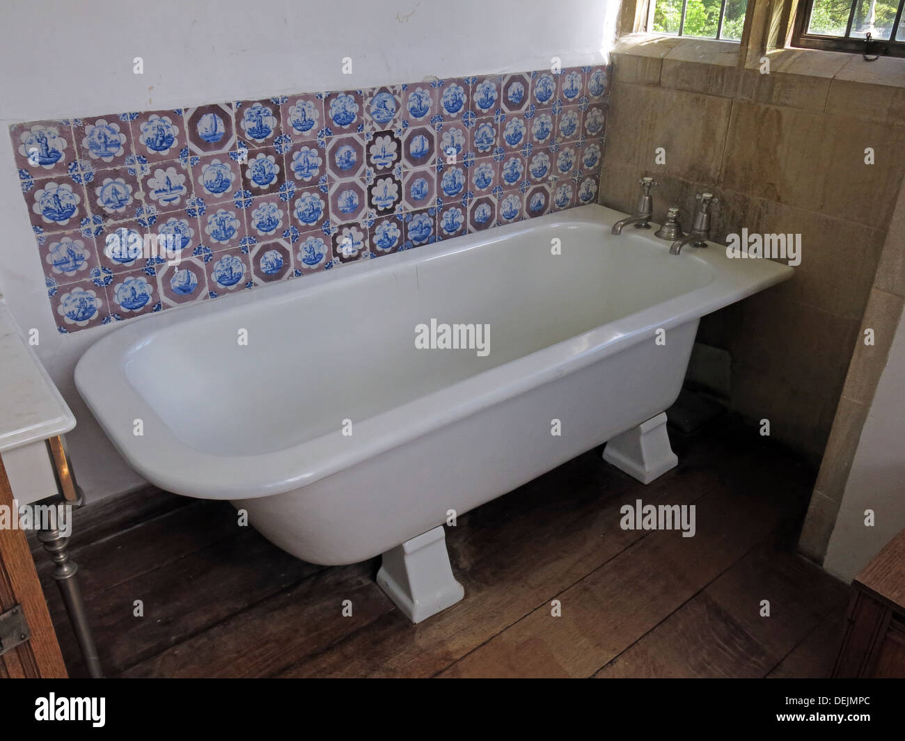 Bath in bathroom at Barrington Court, Ilminster, Somerset , UK TA19 0NQ - Stock Image