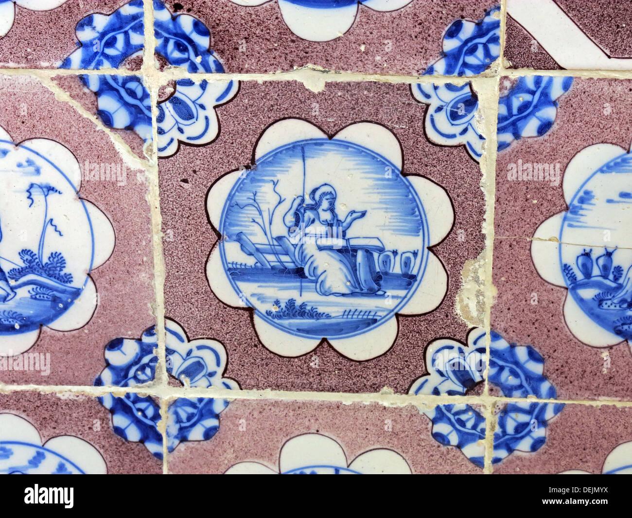 Bathroom detail, dutch tiles at Barrington Court, Ilminster, Somerset , UK TA19 0NQ - Stock Image