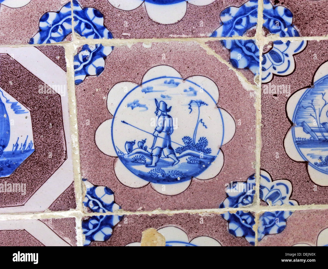 Dutch tiles in bathroom at Barrington Court, Ilminster, Somerset , UK TA19 0NQ Stock Photo