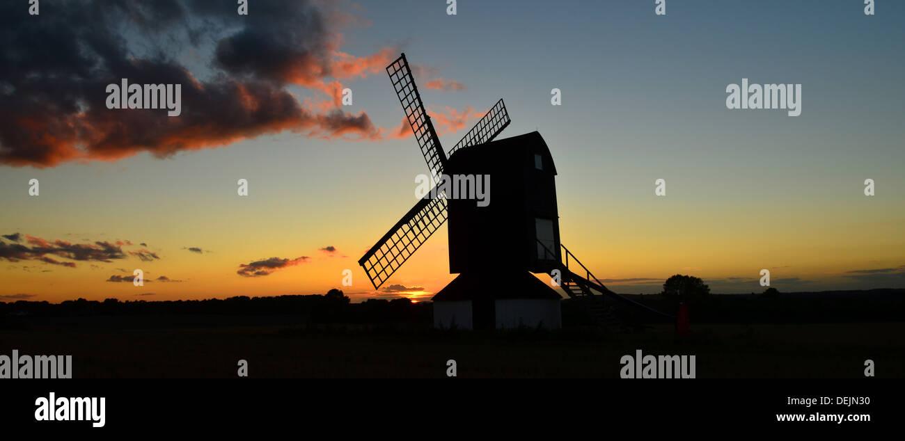 pitstone windmill panorama landscape scenic sunset - Stock Image