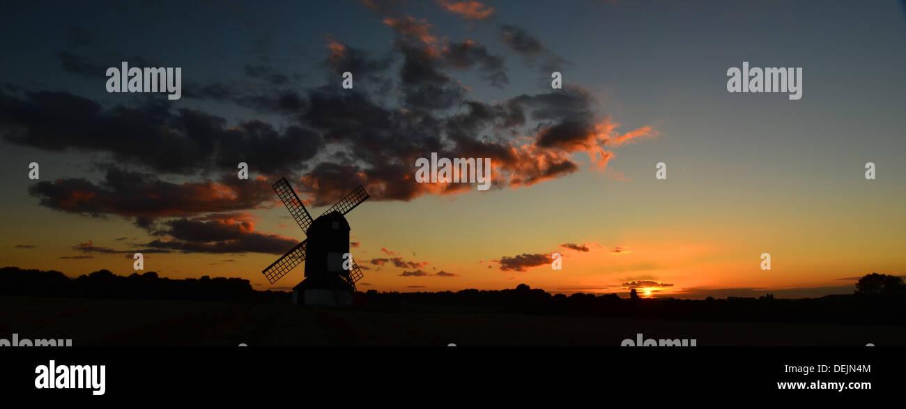 Scenic Panorama Pitstone Windmill at sunset, Buckinghamshire, UK - Stock Image