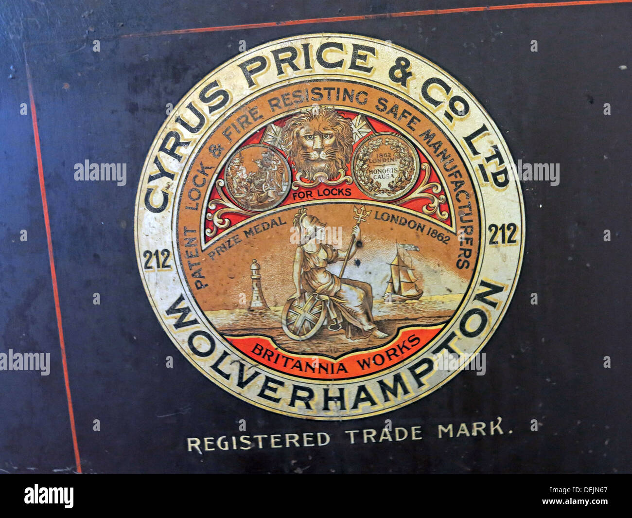 Safe label from Cyrus Price & Co Ltd Wolverhampton 212 - Registered Trade Mark - Stock Image