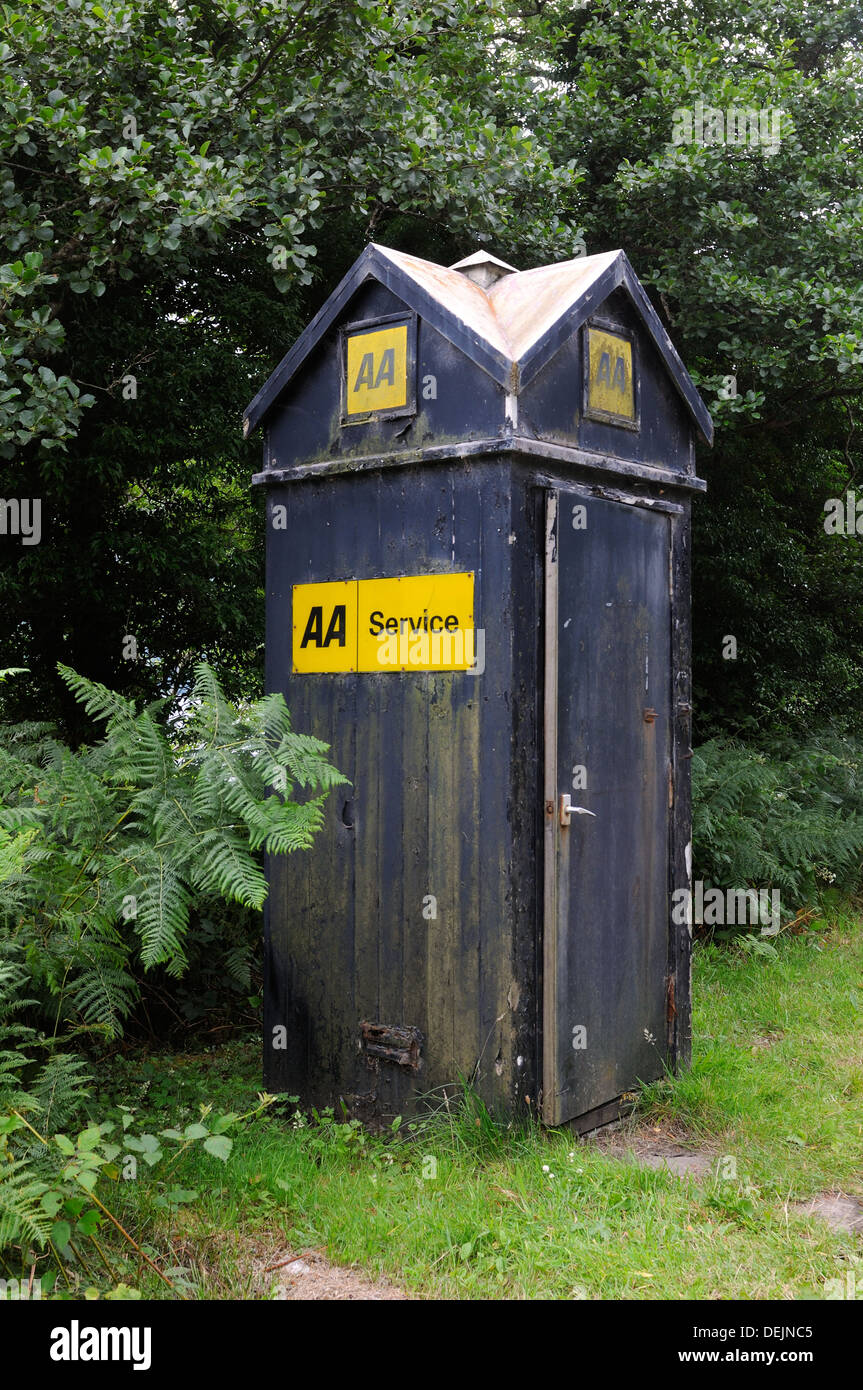 This is an old UK, Automobile Association, emergency telephone kiosk. - Stock Image