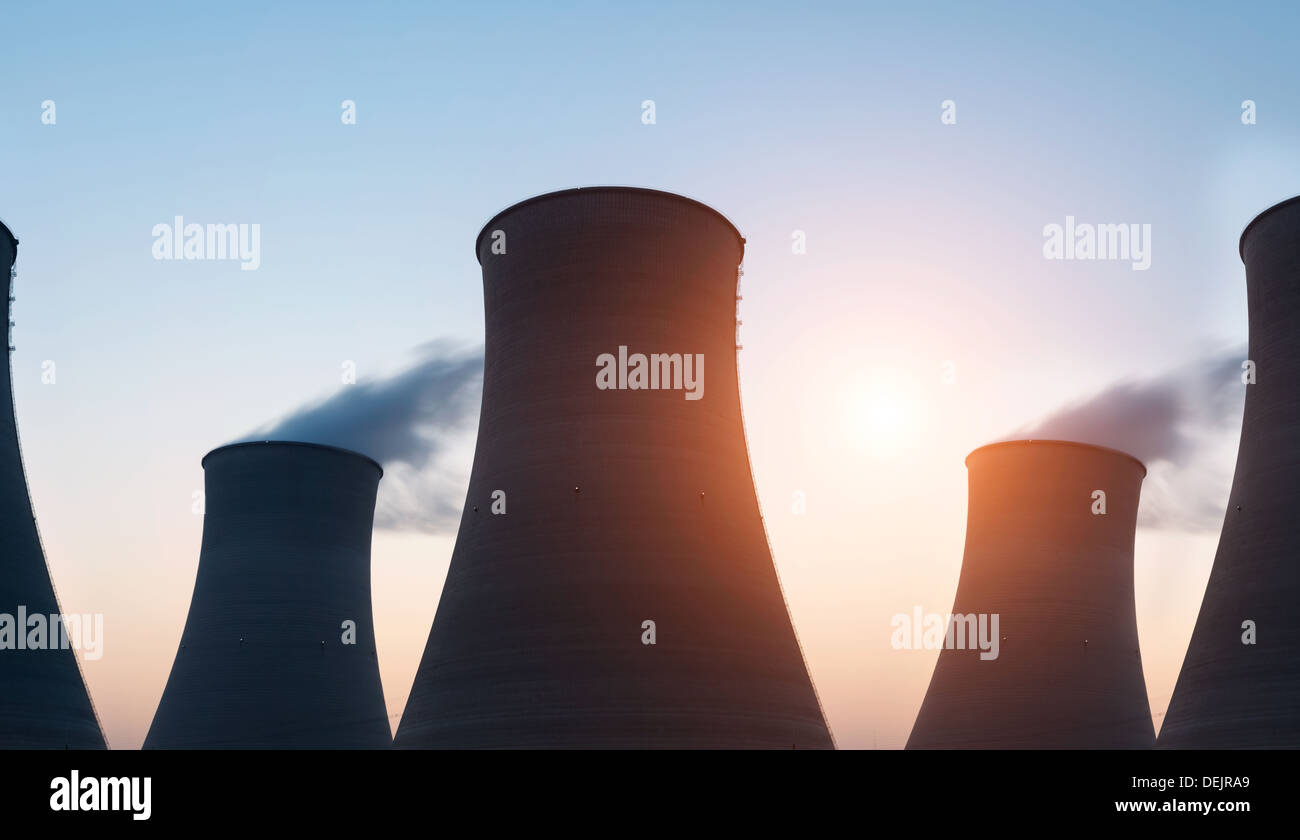tops of cooling towers of atomic power plant - Stock Image