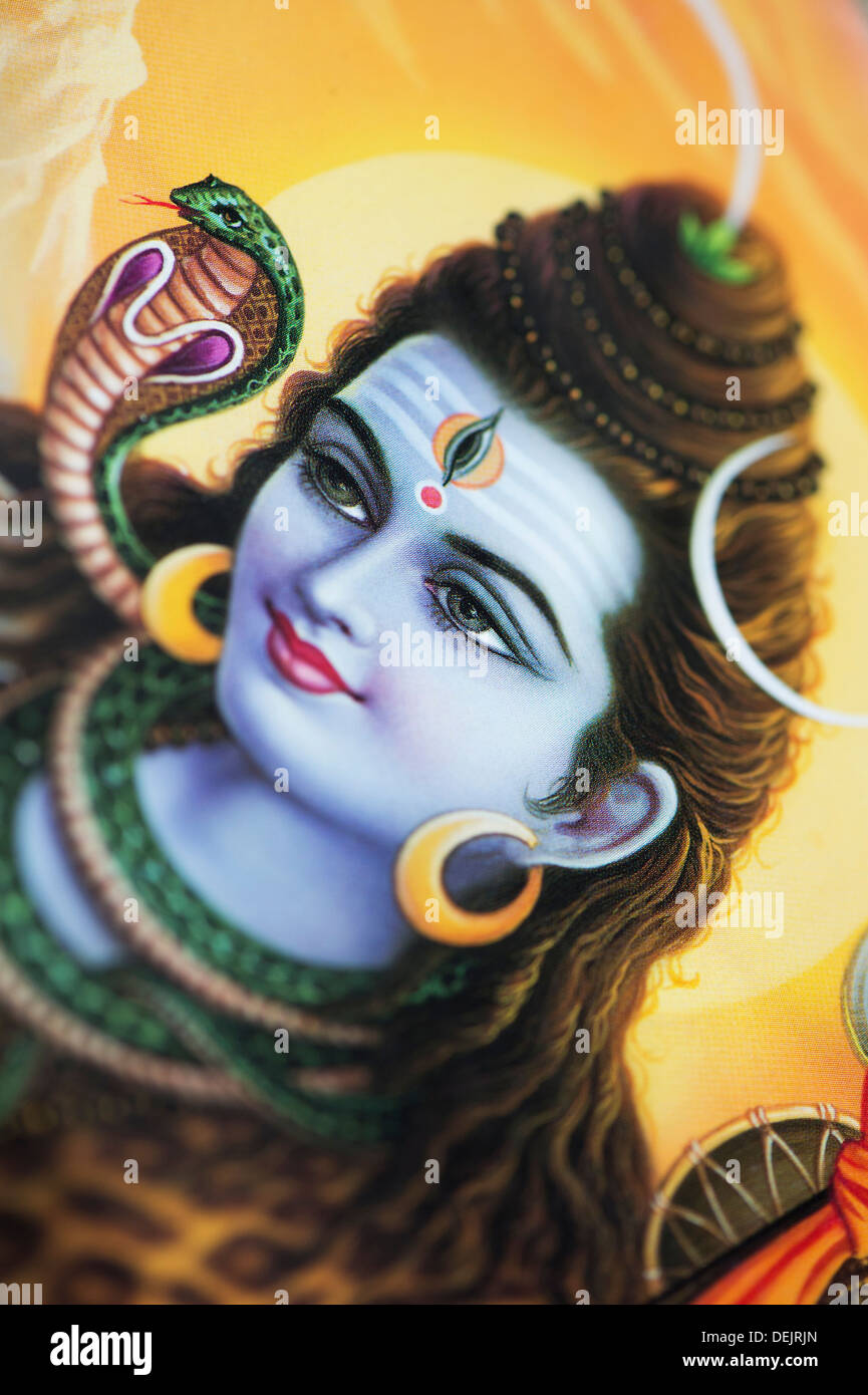 Lord Shiva on a hindu poster - Stock Image