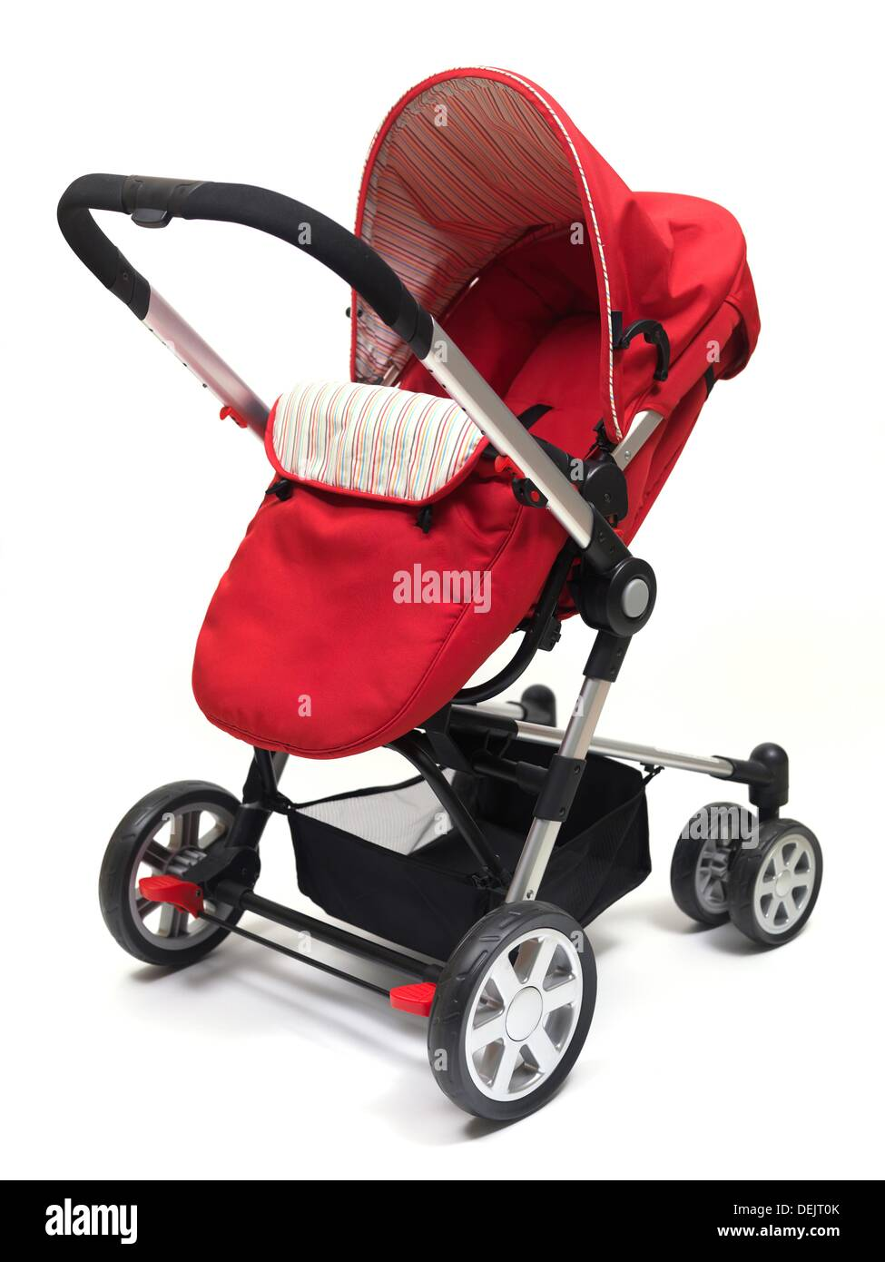 A modern pram isolated against a white background - Stock Image