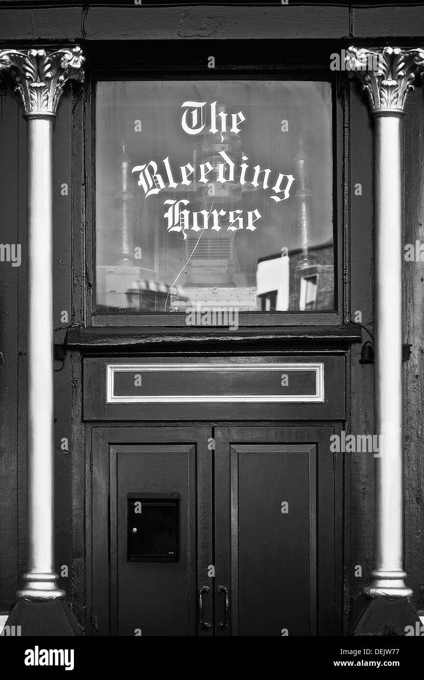 Detail of the front door of the popular pub, the Bleeding Horse, Dublin, Ireland - Stock Image