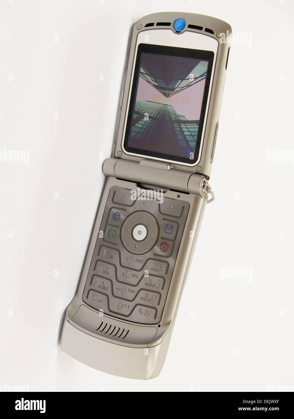 latest motorola cell phone on seemless white background - Stock Image