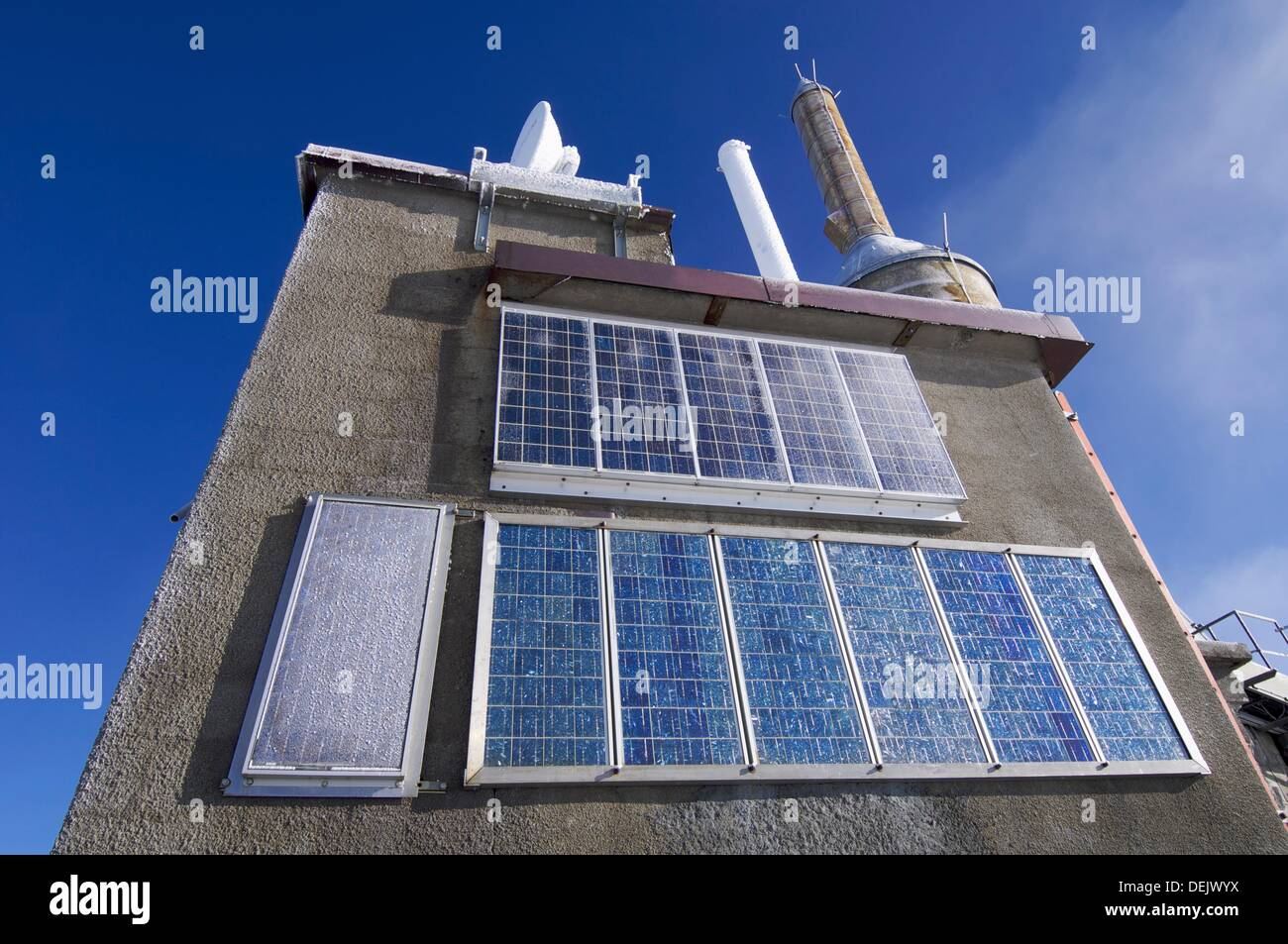view of the photovoltaic panels located at the top of the Mount Aguille du Midi, Mont Blanc massif, Alps, Chamonix, France - Stock Image