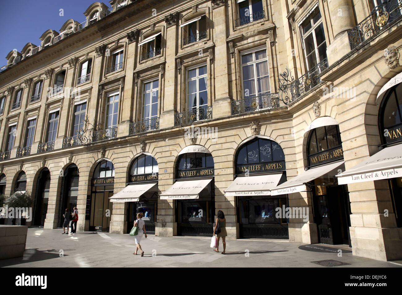 Expensive jewellery shops on Place Vendome, Paris. France - Stock Image