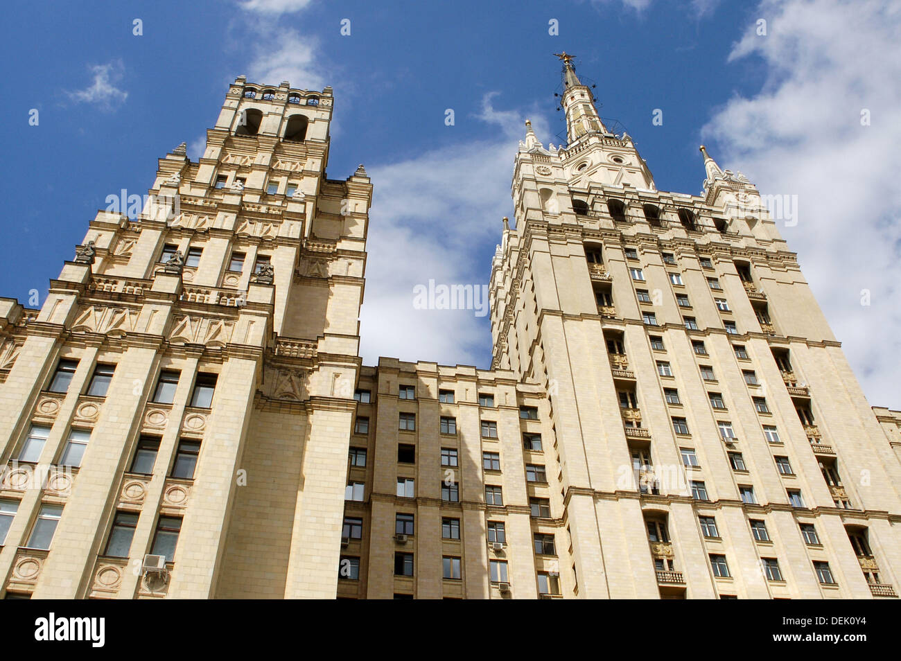 Stalinist architecture, Kudrinskaya Square building, Moscow, Russia - Stock Image