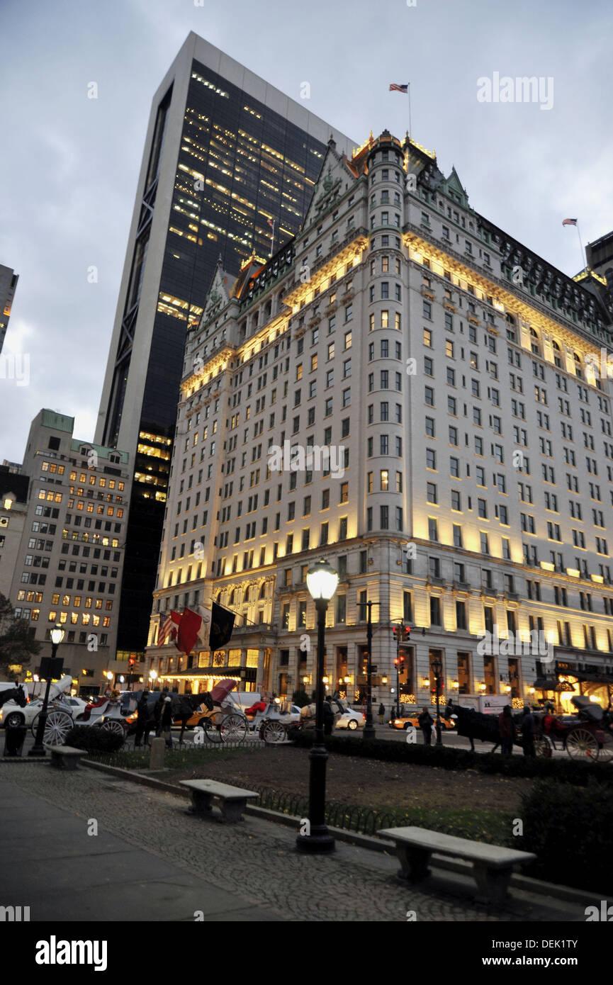 Plaza Hotel at Dusk, New York City - Stock Image