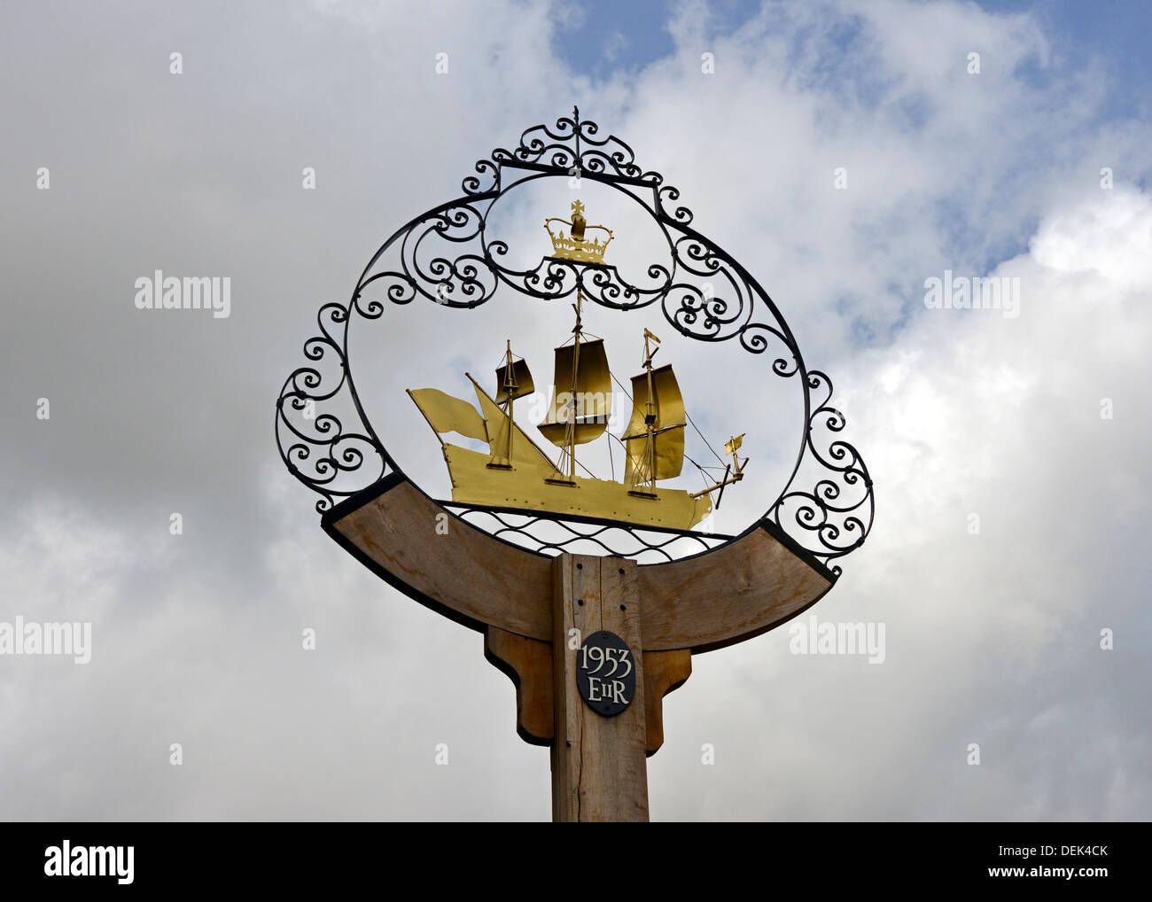 Village sign. Walberswick, Suffolk, England, United Kingdom, Europe. - Stock Image