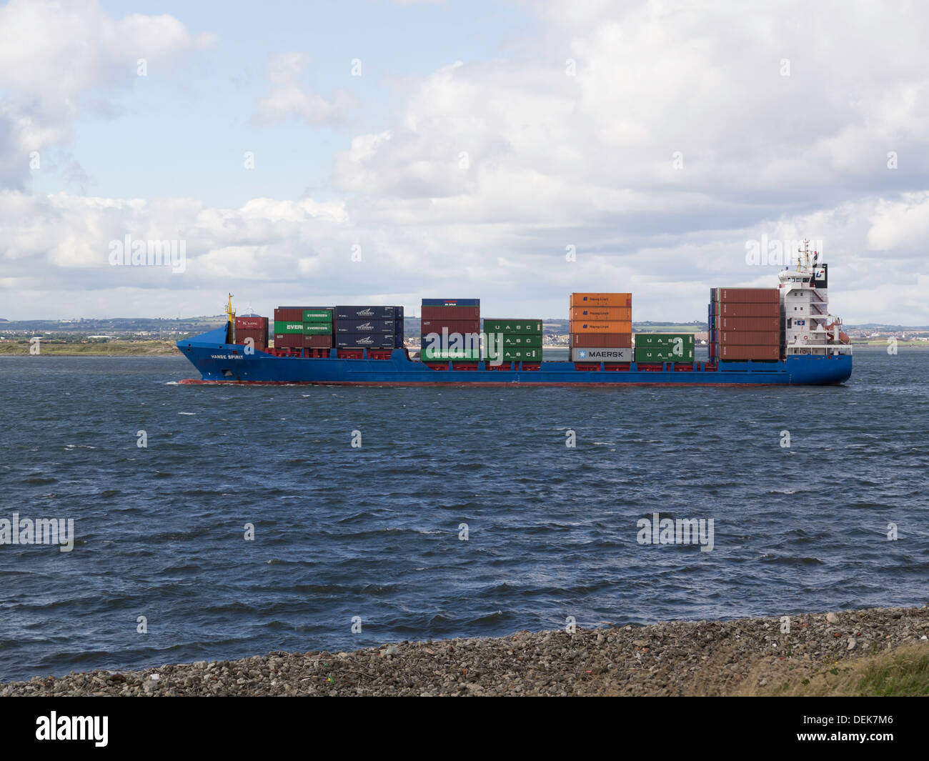 Container ship HANSE SPIRIT  IMO:9302255 arriving in Teesport England UK - Stock Image