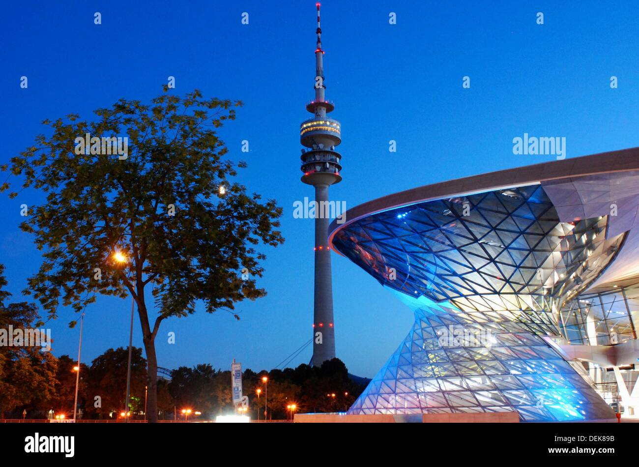 Olympic Tower and the BMW Welt in the blue hour - Stock Image