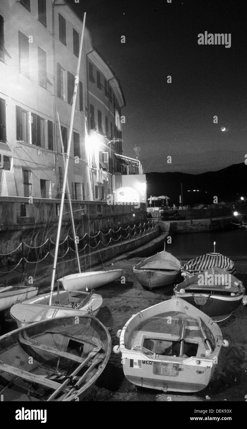 Boats in the Evening at Ligurien, Cinque Terre, Vernazza, - Stock Image