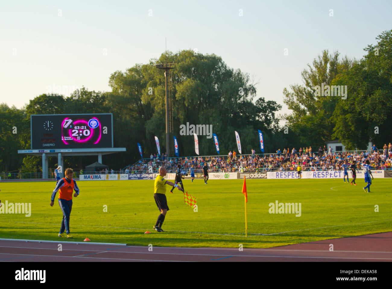 Kadriorg stadium during European league qualification match with local team Nommi Kalju vs HJK Helsinki Tallinn Estonia Europe - Stock Image
