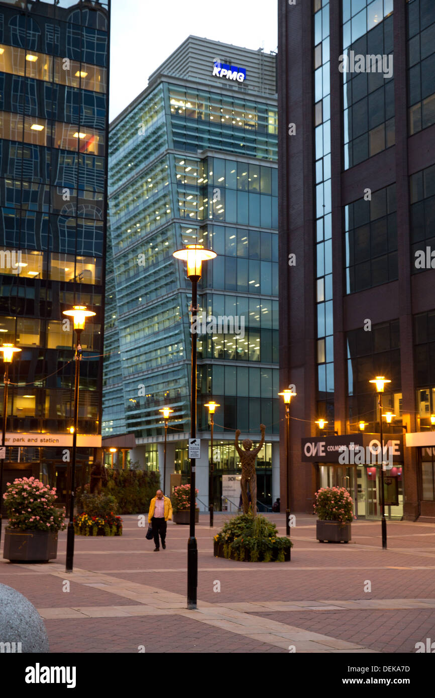 The courtyard outside the entrance to Snowhill train station where a number of large businesses are based. Stock Photo