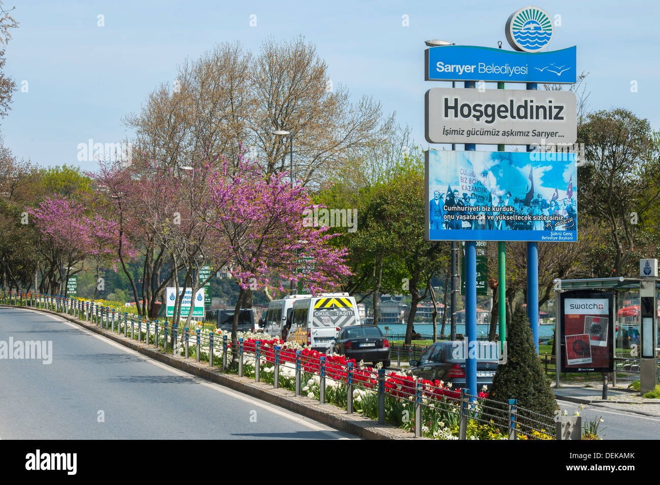 Istanbul, Sariyer, Rumelihisar, Uferstrasse am Bosporus Stock Photo