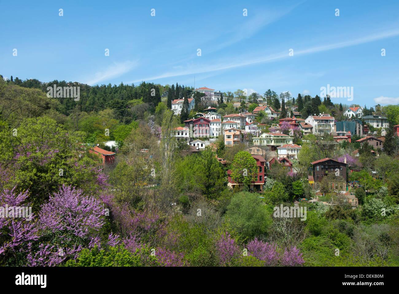 Istanbul, Sariyer, Rumelihisar, Wohnhäuser über der Burg - Stock Image