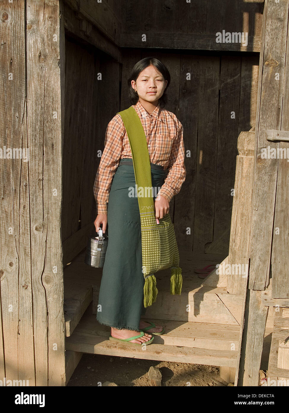 Portrait Of A Pa O Girl In The Shan State Of Myanmar With Her Stock Photo Alamy