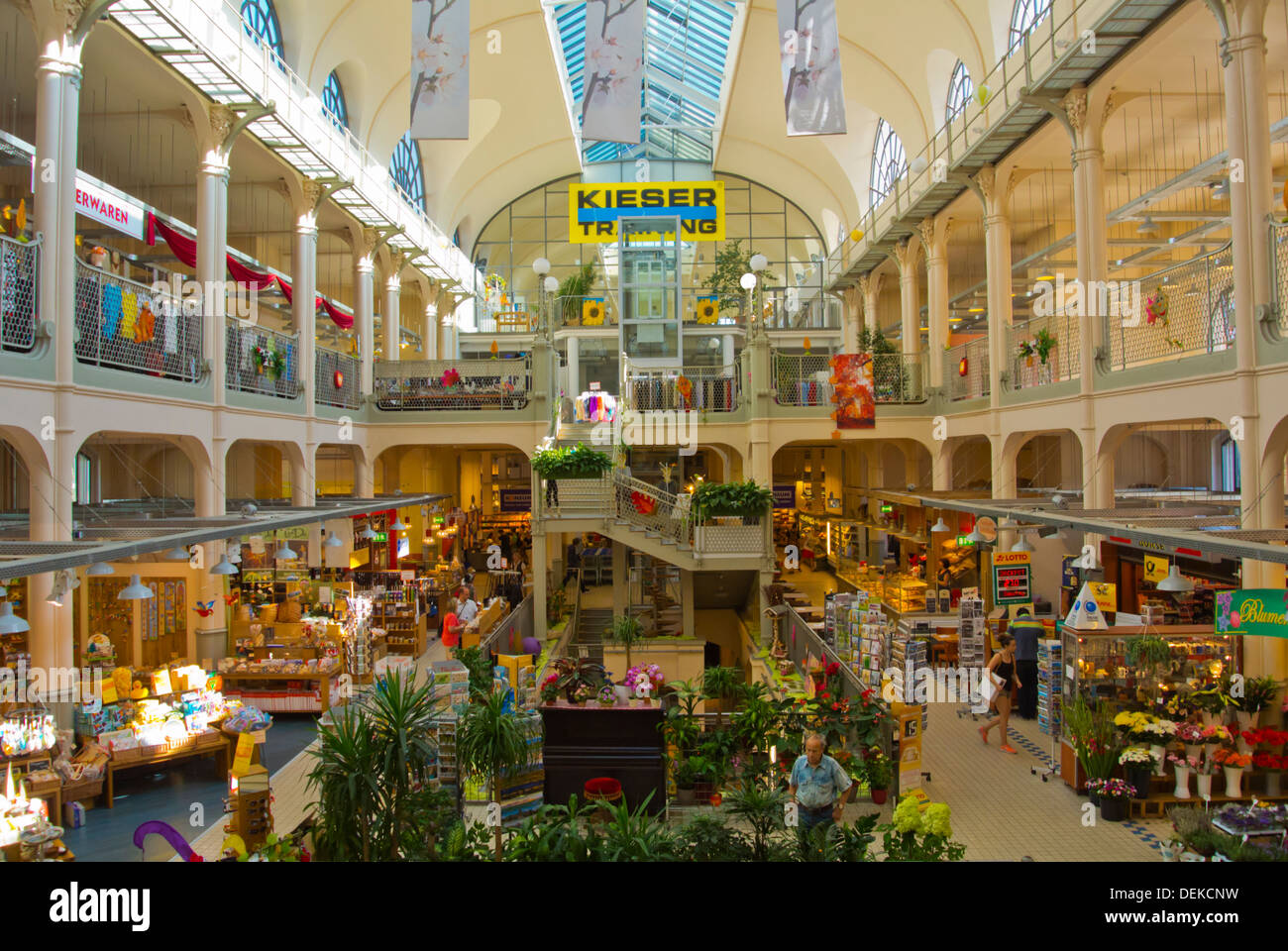 Markthalle the market hall interior Neustadt the new town Dresden city Saxony state eastern Germany central Europe - Stock Image