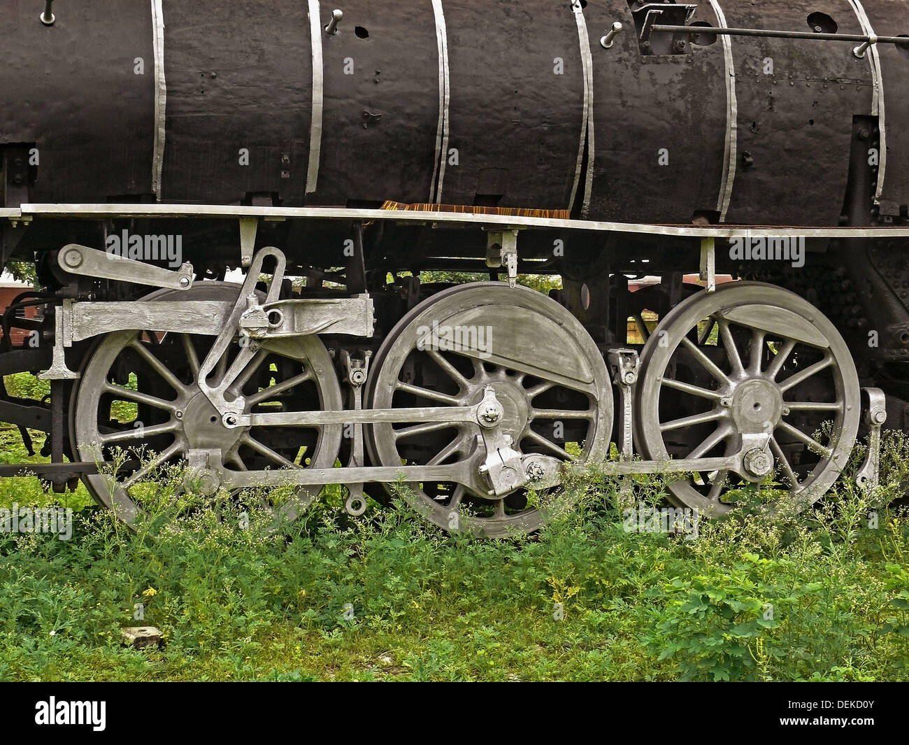 Steam locomotive wheel details. Mhow, Madhyapradesh, India. In India only Mhow is the town where old railway steam engines - Stock Image