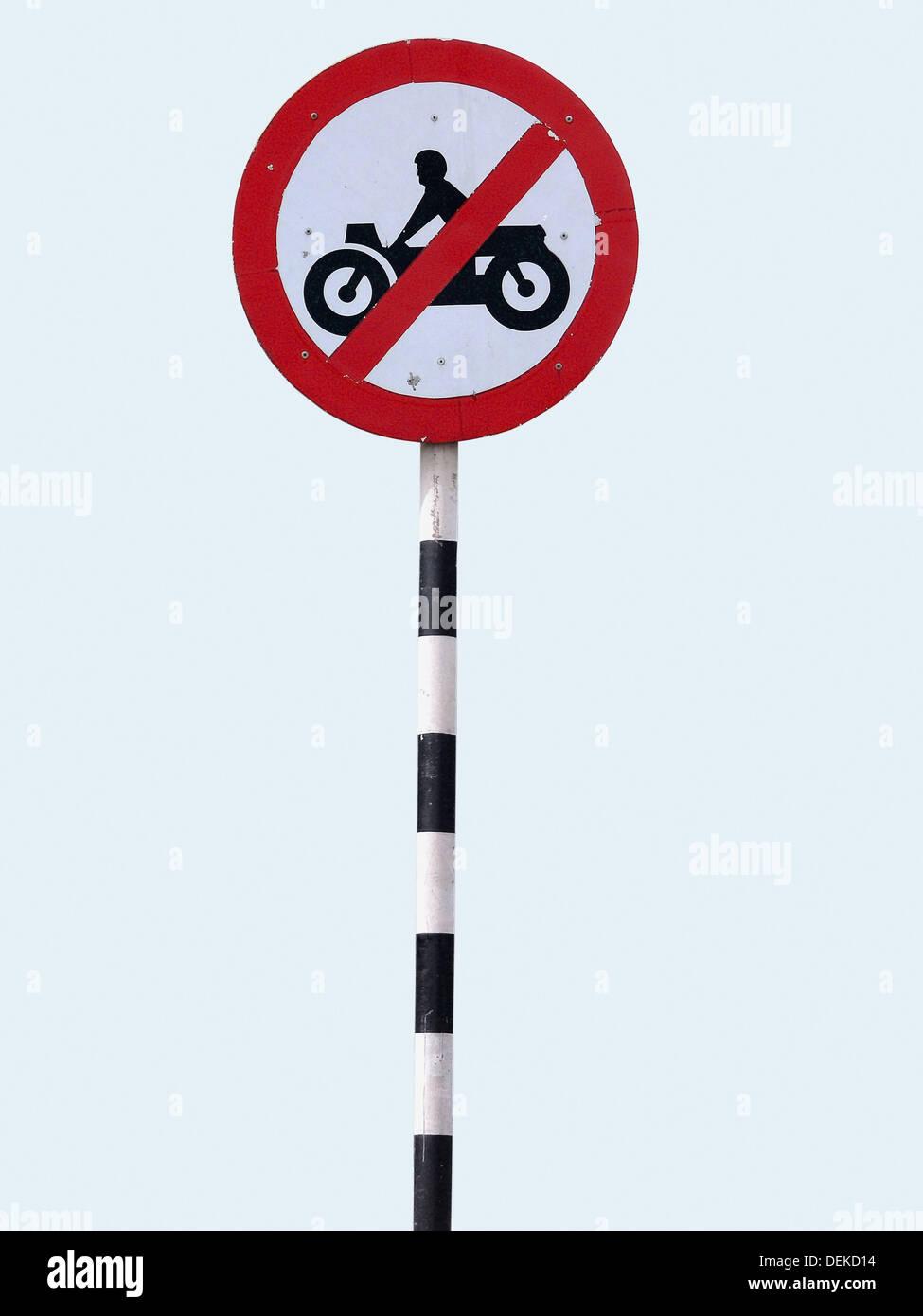 No motor Bike vehicles sign near a toll plaza Karad, Maharashtra, India - Stock Image