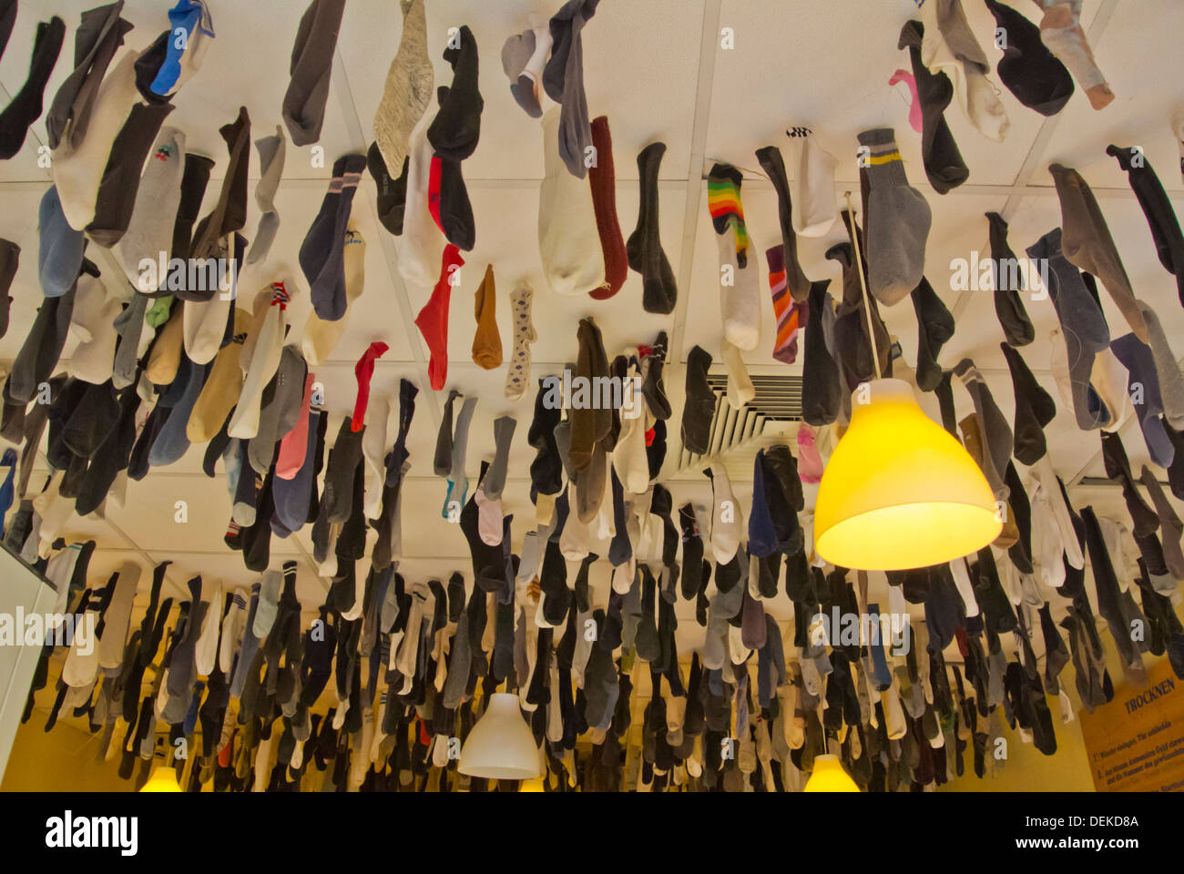Laundrette with socks hanging from ceiling Neustadt the new town Dresden city Saxony state eastern Germany central Europe - Stock Image