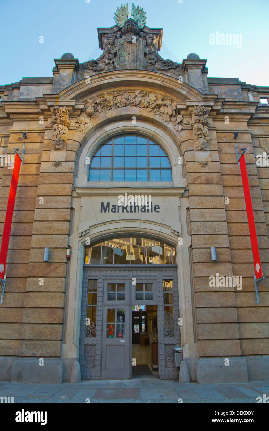 Neustadter Markthalle tha market hall Neustadt the new town Dresden city Saxony state eastern Germany central Europe - Stock Image