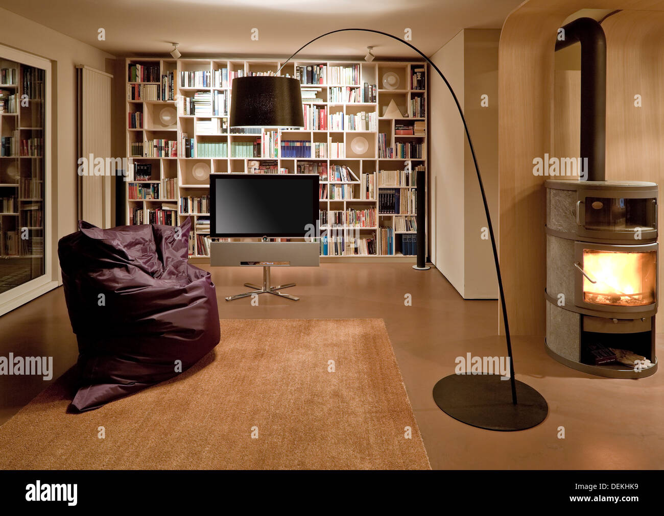 Bean bag chair and television in modern home Stock Photo