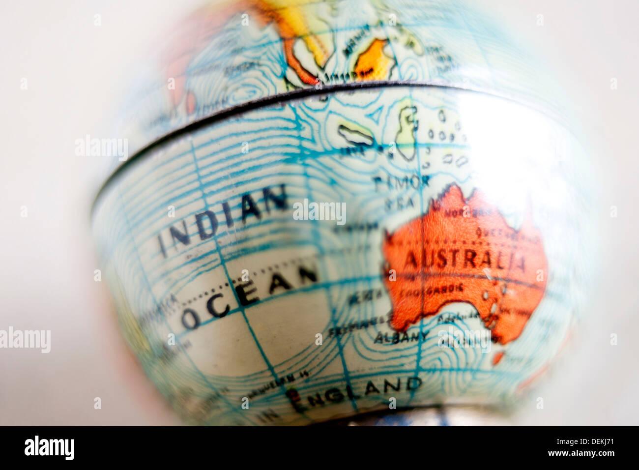 Bola del mundo, globo terraqueo, cinco continentes, Oceano Indico, Australia, oceania, situación, ubicación, viaje, viajar, - Stock Image