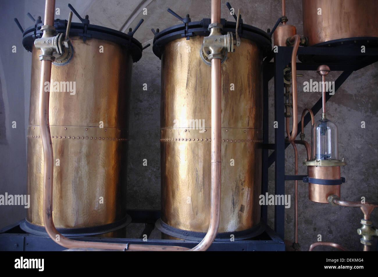 Bassano del Grappa Italy, stills for making grappa - Stock Image