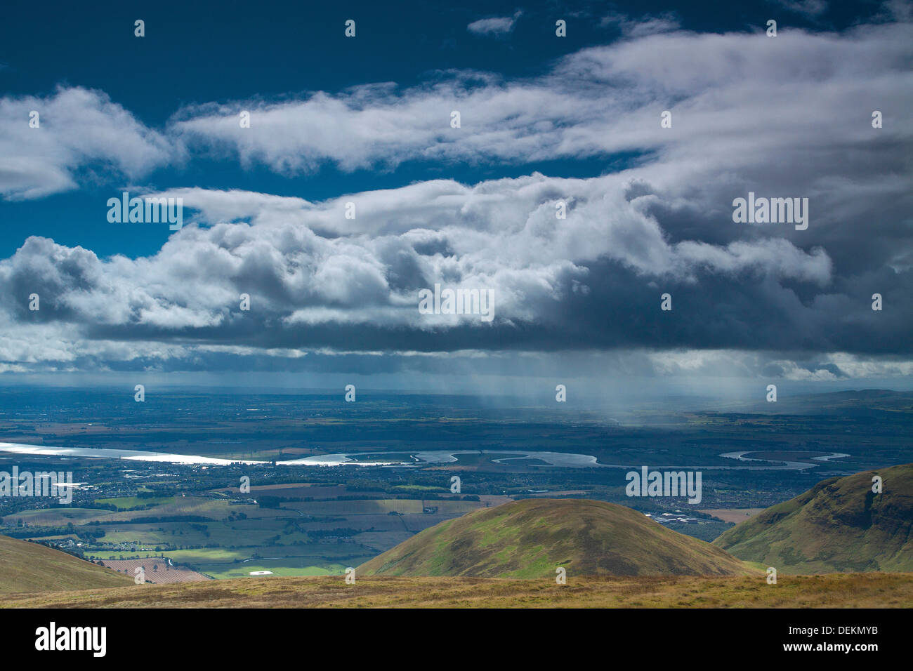 The River Forth and the Forth Valley from Ben Ever, the Ochil Hills, Tillicoultry, Clackmannanshire - Stock Image