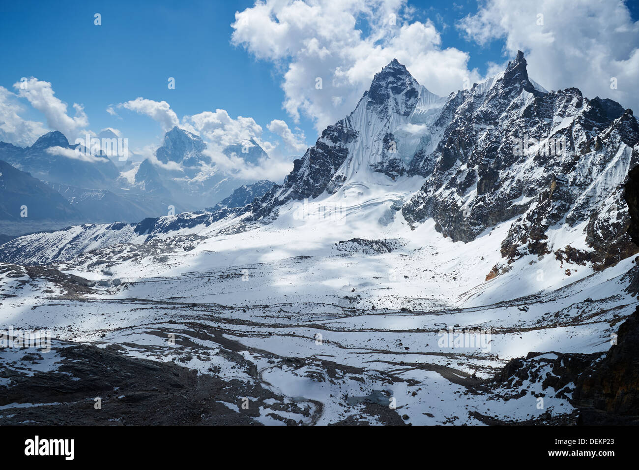 View from Renjo La pass, Nepalese Himalayas, Everest Region, looking towards Gokyo (out of frame to left) - Stock Image