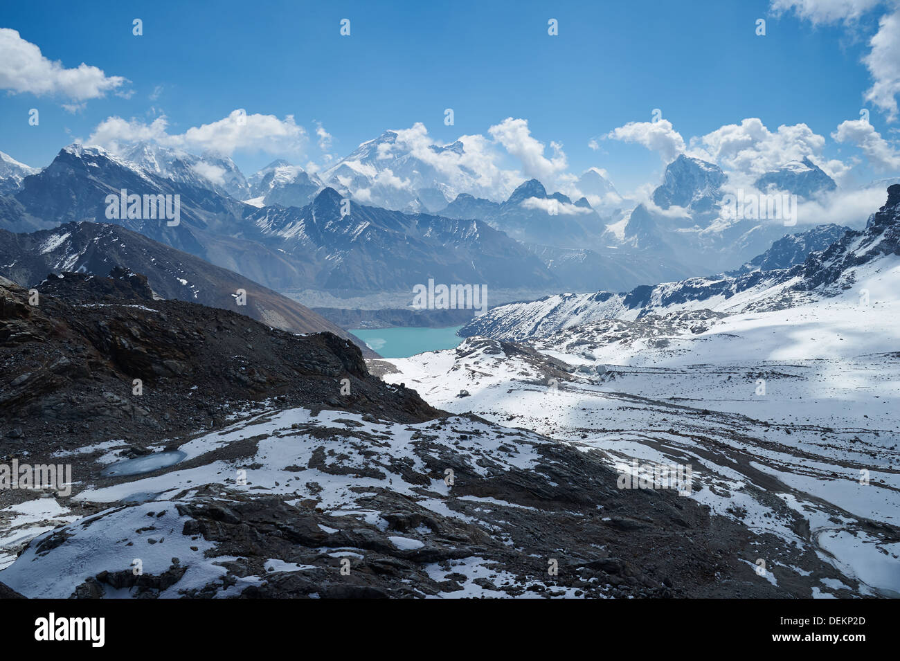 View from Renjo La pass, Nepalese Himalayas, Everest Region, looking towards Gokyo - Stock Image