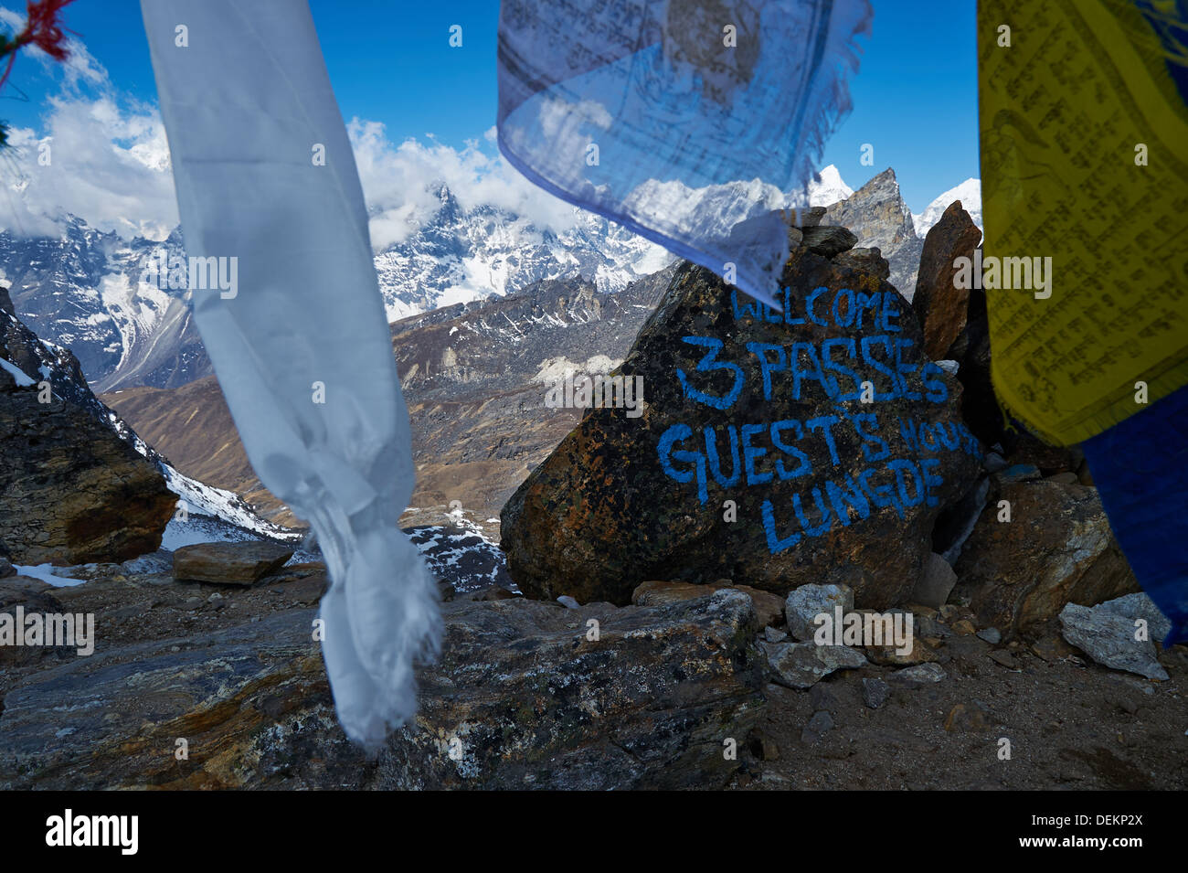 View from Renjo La pass, Nepalese Himalayas, Everest Region, looking back towards Lungde and Tibetan range - Stock Image