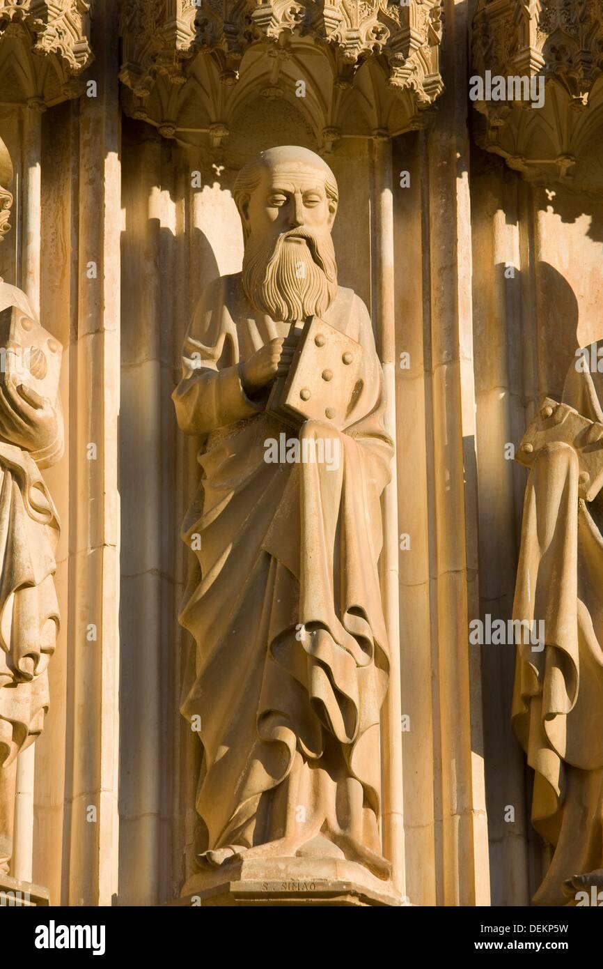 Sculpture of Saint Simon apostle, in the Monastery of Santa Maria da Vitoria, also called Batalha Monastery, declared World - Stock Image